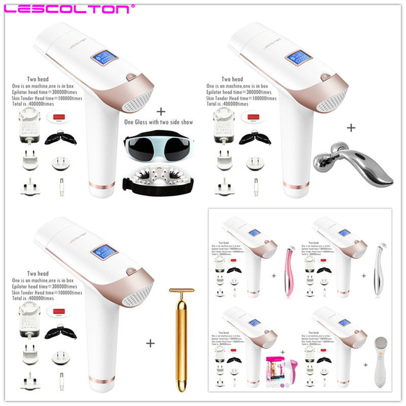 Lescolton 2in1 400000 times IPL Laser Hair Removal Machine Laser Epilator Permanent Depilator Electric 400000 Pulse Tender Skin