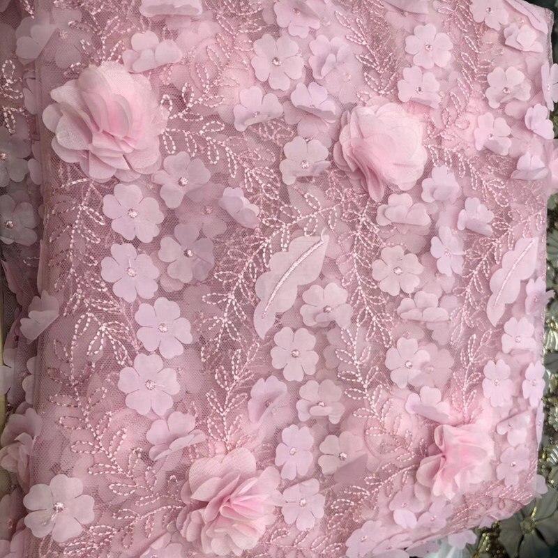 3D Fiori di alta qualità tessuto Africano del merletto 2018 Bella rosa di colore francese tulle tessuto di pizzo appliqued per la cerimonia nuziale 5 yards DS857-in Pizzo da Casa e giardino su  Gruppo 1