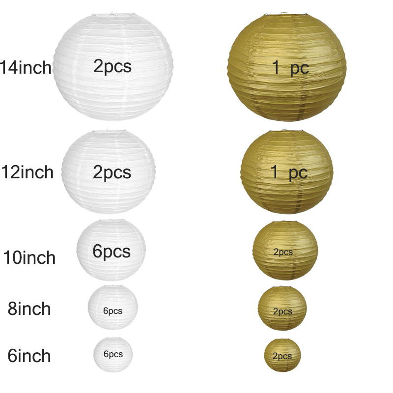 Decor 6inch-14inch papier Party pcs Hanging Event Diy Outdoor lanterne Wedding lampion Indoor Gold Chinese Paper White Lantern 30