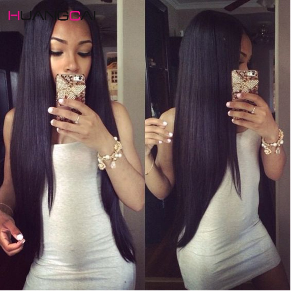 8A HuangCai hair brazilian straight virgin hair 3/4 bundles deal brazilian virgin hair straight human Hair weaves extensions