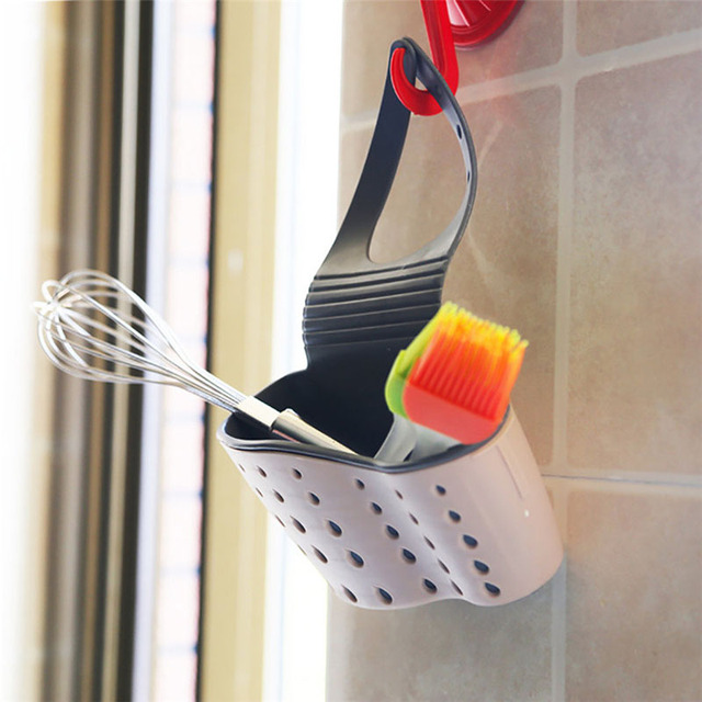 Sink Shelf Soap Sponge Drain Rack Silicone Storage Basket Bag Faucet Holder Adjustable Bathroom Holder Sink Kitchen Accessorie 4