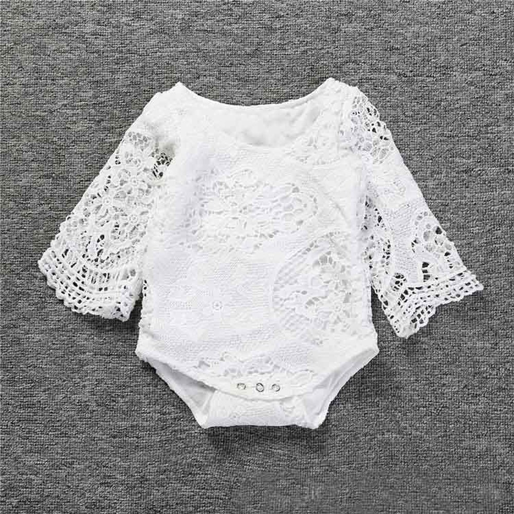 Baby Girls Ruffles Sleeve White Lace Romper(China)