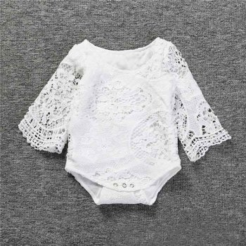 Baby Girls Ruffles Sleeve White Lace Romper