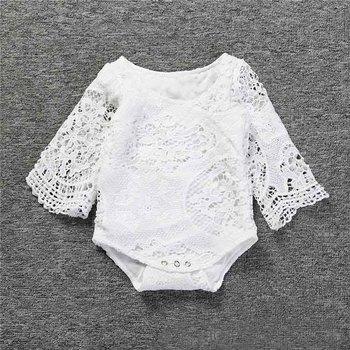 Baby Girls Ruffles Sleeve White Lace Romper