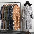 Nova moda primavera outono mulheres de veludo do vintage one piece dress pequena fêmea floral dress impressão meninas estudante fino dress