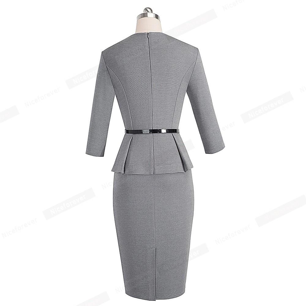 Image 2 - Nice forever Vintage Elegant Wear to Work with Belt Peplum  vestidos Business Party Bodycon Office Career Women Dress B473Dresses