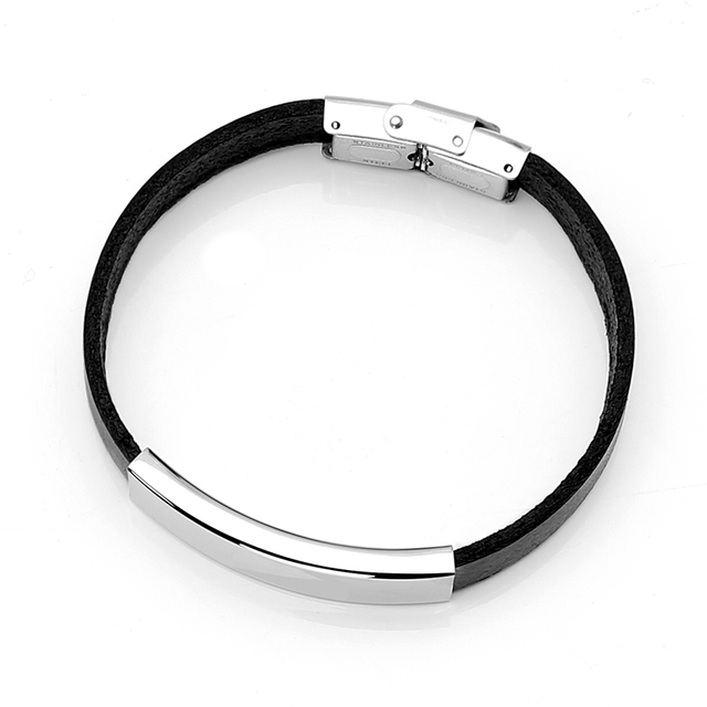 Personalised Blank Tube Bifilar Leather Bracelet Stainless Steel Safe Clasp Male Bangles Pulsera de Hombre Gift 2018 New