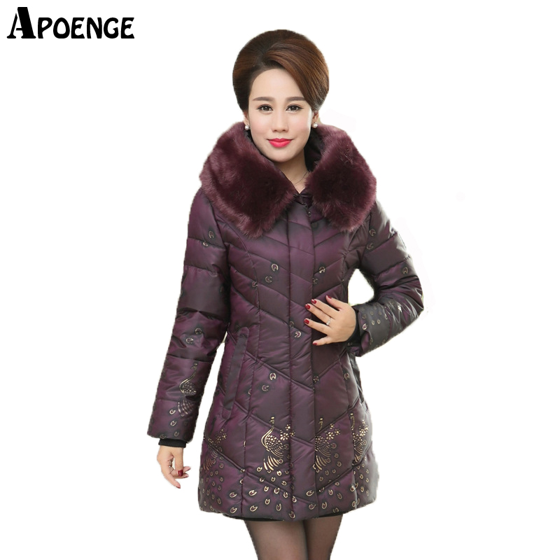 APOENGE abrigo mujer Plus Size 5xl Middle-aged Women Winter Warm Long Jacket Coat Mom Fur Collar Slim Parka Cotton Padded QN426 winter women medium long middle aged fur collar hooded parkas thick warm plus size coat cotton padded chaquetas mujer tt3058
