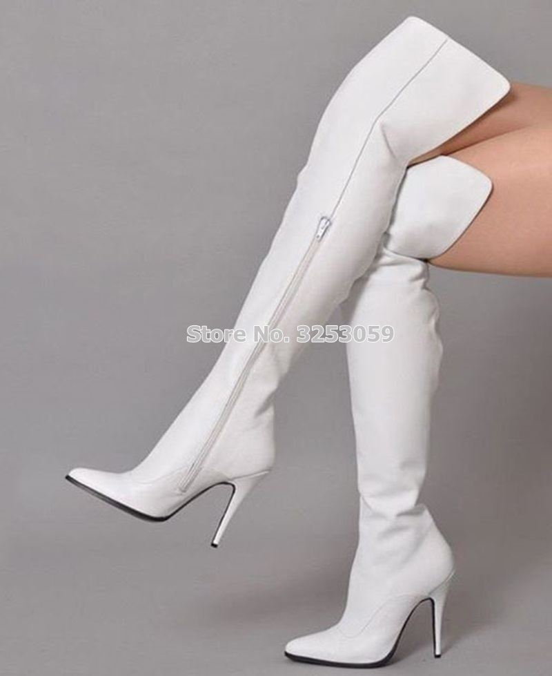 Bout Bottes Le Contact Picture Boot Beige Longues customized white Hiver Pointu Genou Slim As Fit Talons Picture Almudena Sur Blanc Cuissardes Gladiateur Femmes Zipper black Aiguilles Picture as Picture red SwFqnAO