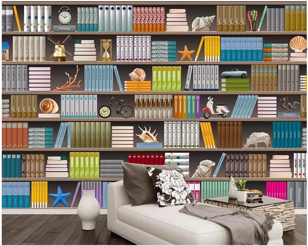 3d Wallpaper Custom Mural Photo Bookshelves And Books Set Out Against The Background Wall 3d Wall Murals Wallpaper For Walls 3 D