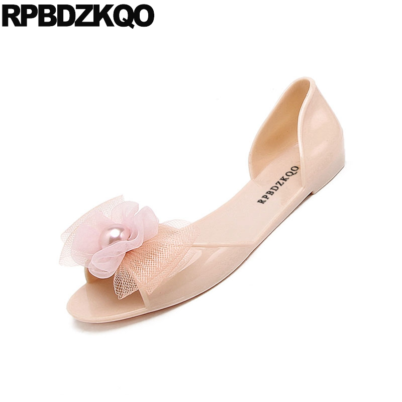 Image 4 - rubber kawaii bow women sandals flat summer 2019 cheap embellished shoes cute jelly pearl soft pink beach slip on black pvcLow Heels   -