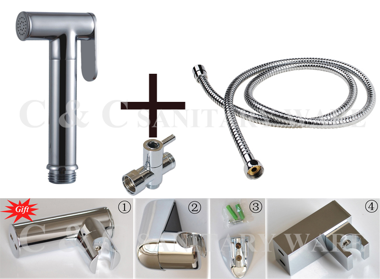 G1/2, G7/8, G3/4, M18X1.5L en option en laiton t-adaptateur + Bidet à main toilette Shattaf Kit pulvérisateur et support mural + tuyau A2012ST