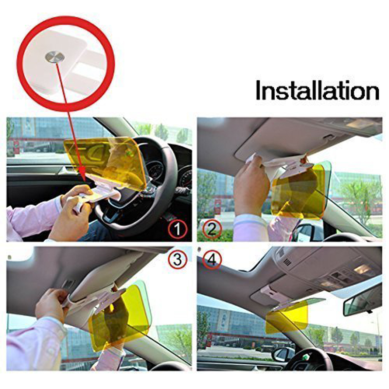 2 in 1 Car Sun Visor HD Anti Sunlight Dazzling Goggle Day Night Vision Driving Mirror UV Fold Flip Down for Clear View Visor in Driver Goggles from Automobiles Motorcycles
