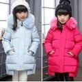 Новые Девушки Зимой Вниз Пальто с мехом Дети Длинный Толстый Теплый Вниз Пальто Подросток Зимняя Куртка Для Холодной зимы-30 градусов