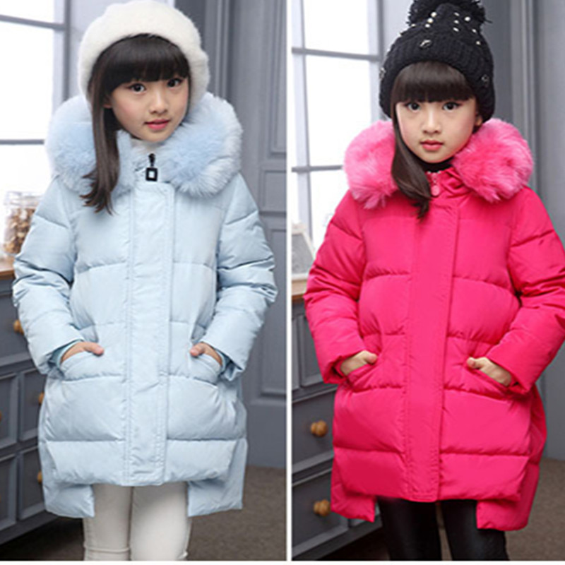 New Girls Winter Down Coats with fur Children Long Thick Warm Down Coat Teenage Winter