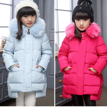 New Girls Winter Down Coats with fur Children Long Thick Warm Down Coat Teenage Winter Jacket For Cold winter -30degree