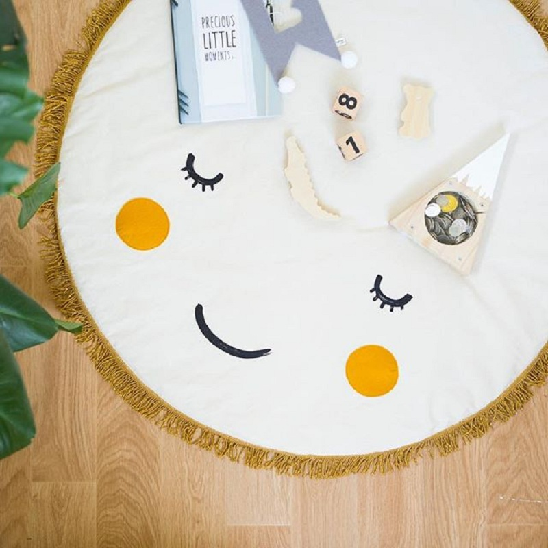 Smile Soft Cotton Baby Kids Game Gym Activity Play Mat Crawling Blanket infant room Floor carpet and Smile pillow cushion