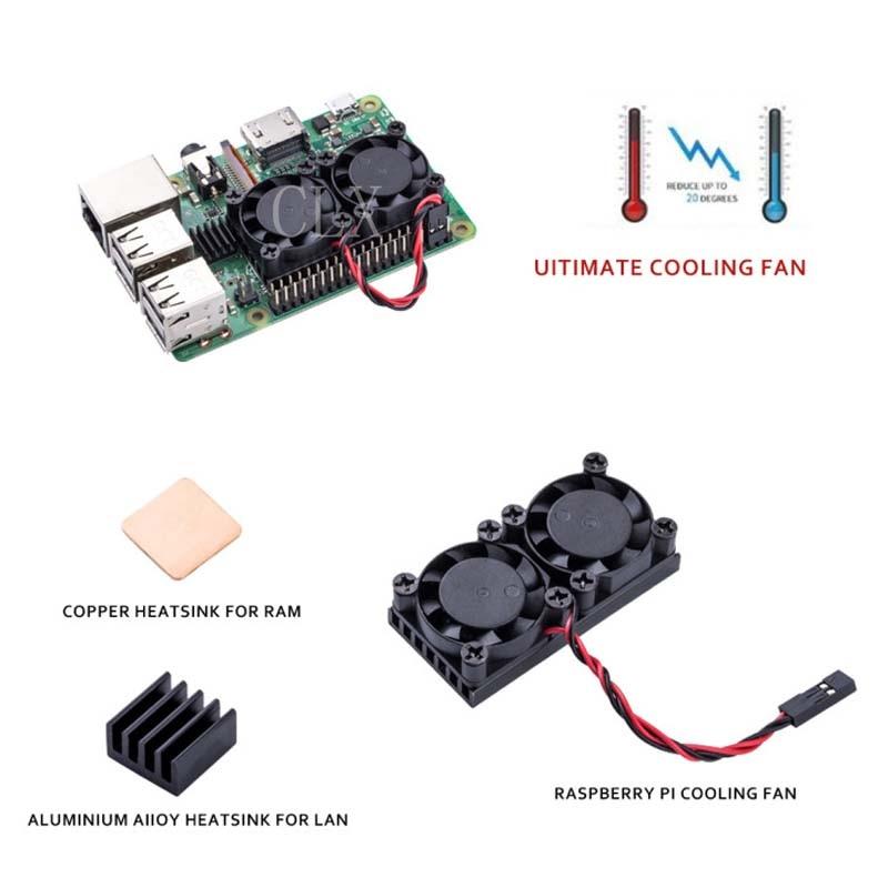 Raspberry Pi 3 Model B+(Plus) Dual Fan Cooling System Module with Heatsink for Pi3 B+ / NESPi Case