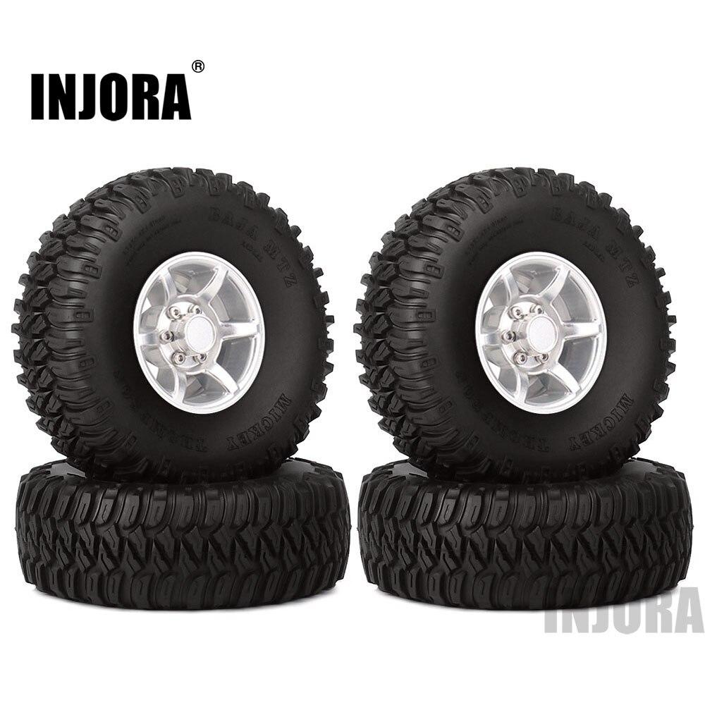 INJORA 4PCS 1 55 Inch Beadlock Aluminum Rim Wheel Tires 1 55 Tyre for RC Crawler