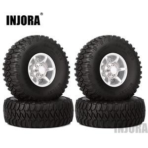 Image 1 - INJORA 4PCS 1.55 Inch Beadlock Aluminum Rim & Wheel Tires 1.55 Tyre for RC Crawler Car D90 TF2 Tamiya CC01 LC70 LC80