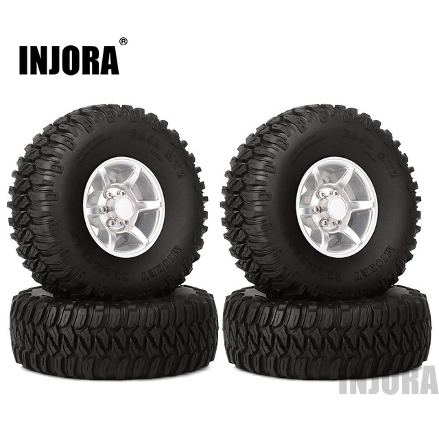 INJORA 4PCS 1.55 Inch Beadlock Aluminum Rim & Wheel Tires 1.55 Tyre for RC Crawler Car D90 TF2 Tamiya CC01 LC70 LC80