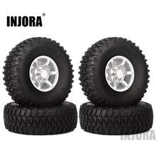 "Injora 4 pcs 1.55 인치 비드 록 알루미늄 림 & 휠 타이어 1.55 ""rc 크롤러 자동차 용 타이어 d90 tf2 tamiya cc01 lc70 lc80"