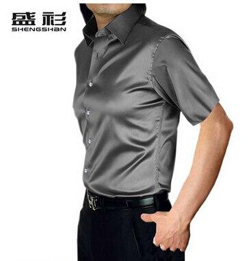 ZOEQO, новинка, брендовая летняя стильная Высококачественная шелковая мужская рубашка с коротким рукавом, повседневная мужская рубашка, camisa masculina camisas hombre - Цвет: 17 gray