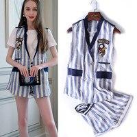 With Belt! Summer Twin Set Women Linen Stripped Sleeveless Embroidery Appliques Vest Top + Open Leg Short Pants Suits NS75