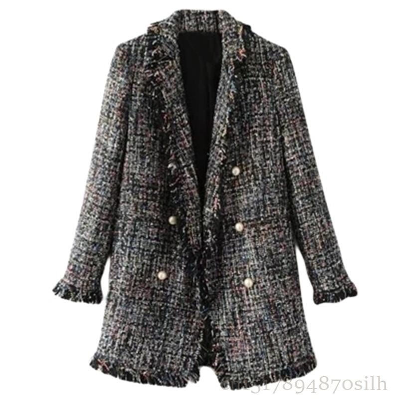 Boutons Col Z206 Automne Femmes Ol 2018 Veste Haute Cardigan Survêtement Cranté Gray Qualité Tweed Long Costume Perle Blazer Mode Hiver wgHYxxvq