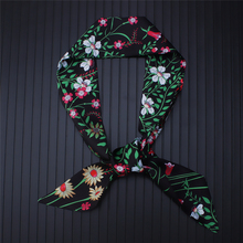 2019 Women Silk Hair Neck Scarves Lady Small Skinny Scarf Designer Floral Ribbon Bag Band Scarfs Tie Elegant Headband 2019 women silk hair neck scarves lady small skinny scarf designer floral ribbon bag band scarfs tie elegant headband