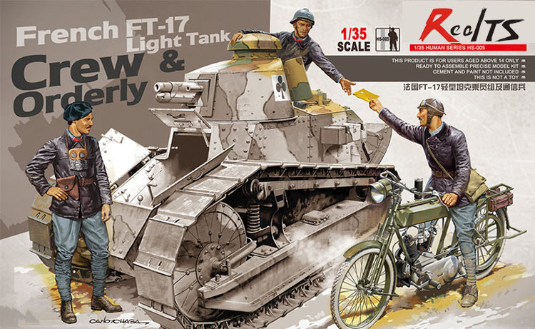 RealTS Meng Model HS-005 1/35 French FT-17 Light Tank Crew & Orderly (tank Not Included)