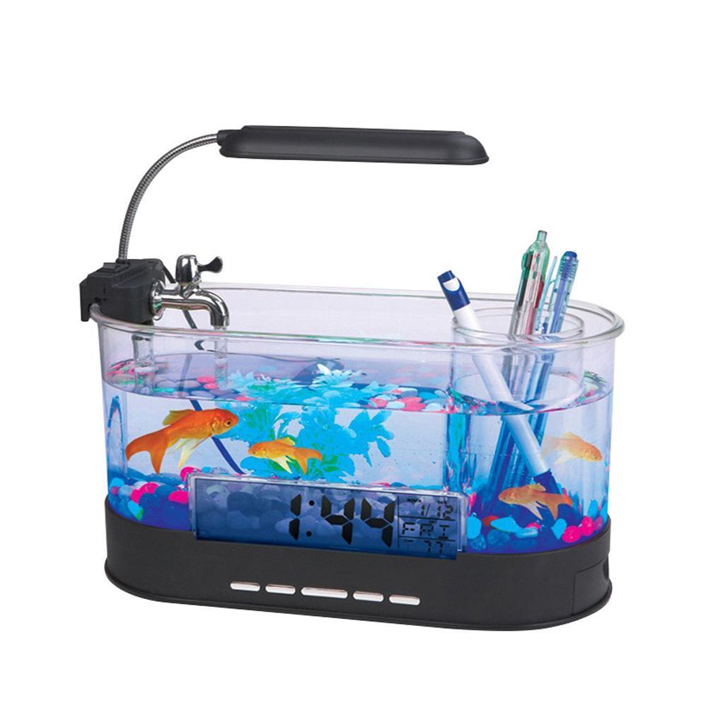 USB Desktop Fish Tank Aquarium with LED Light Fish Tank Aquarium for Home Decoration A2