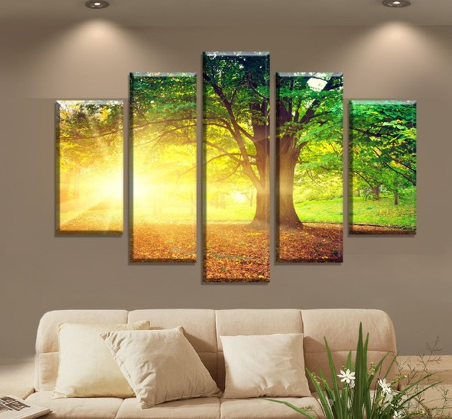 Aliexpress.com : Buy Large 5 Pieces Canvas Art Print Green Tree ...