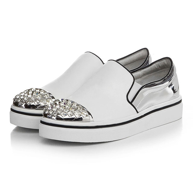 032210c27609 Platform Ladies Shoes Designer Loafers Leather Shoes Woman Slip On Women  Flats Casual Loafers Rhinestones Women Flat Shoes