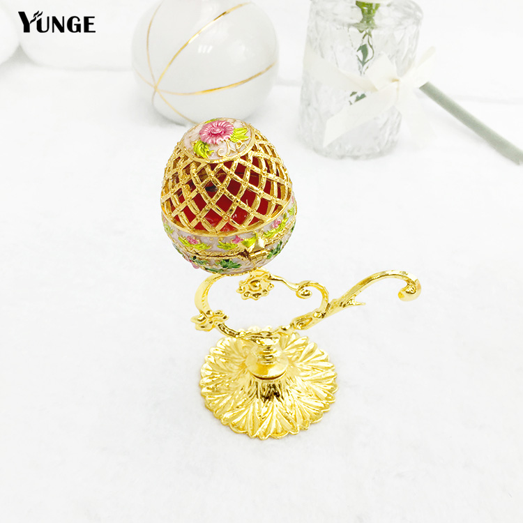 New Arrival Vintage Home Decoration Metal Craft  Crafts gift  Hollow Egg Jewellery Box Gift crafts Casket Birthday Gift