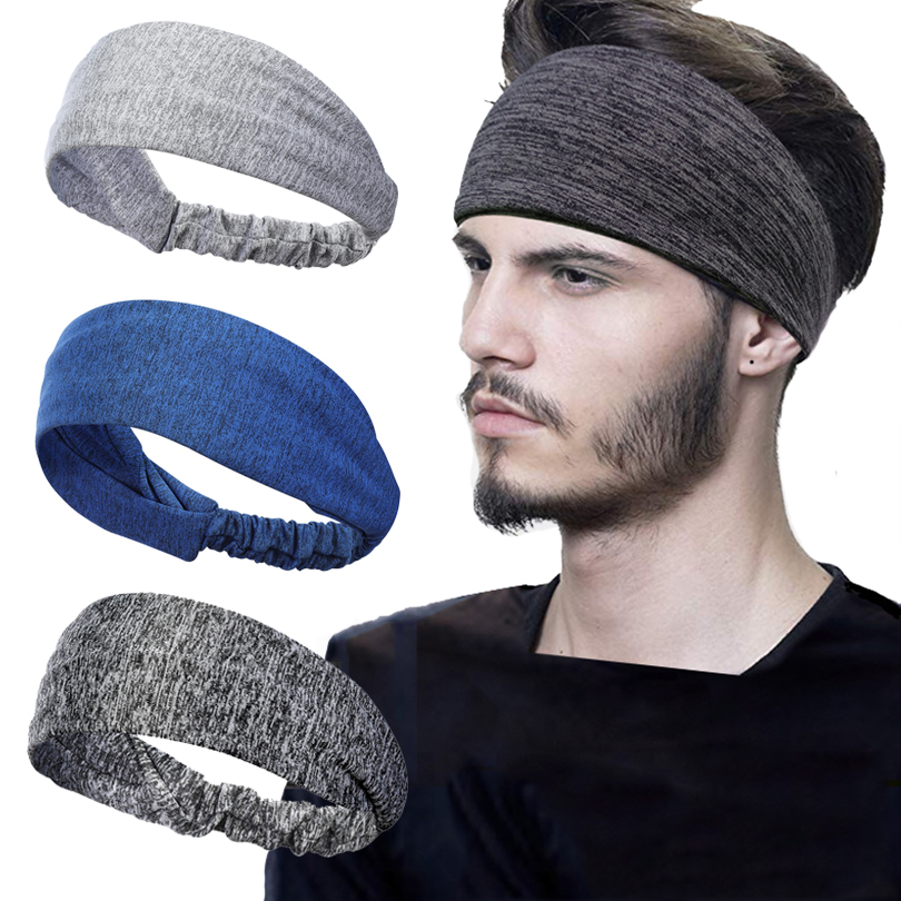 Haimeikang Unisex Solid Color Sport Yoga Headband Hair Elastic Bands For Men Women Stretch Outdoor Fitness Head Bands Hairband