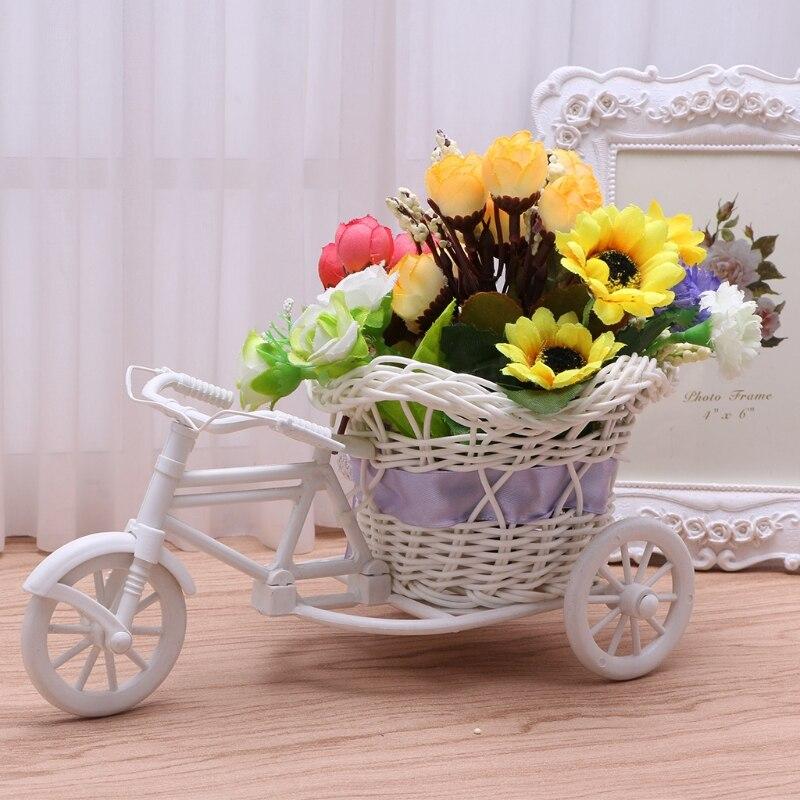 Цветок Пластик белый трехколесный велосипед Дизайн Цветочная корзина контейнер для цветочных растений дома Weddding украшения 22x11cm-p101