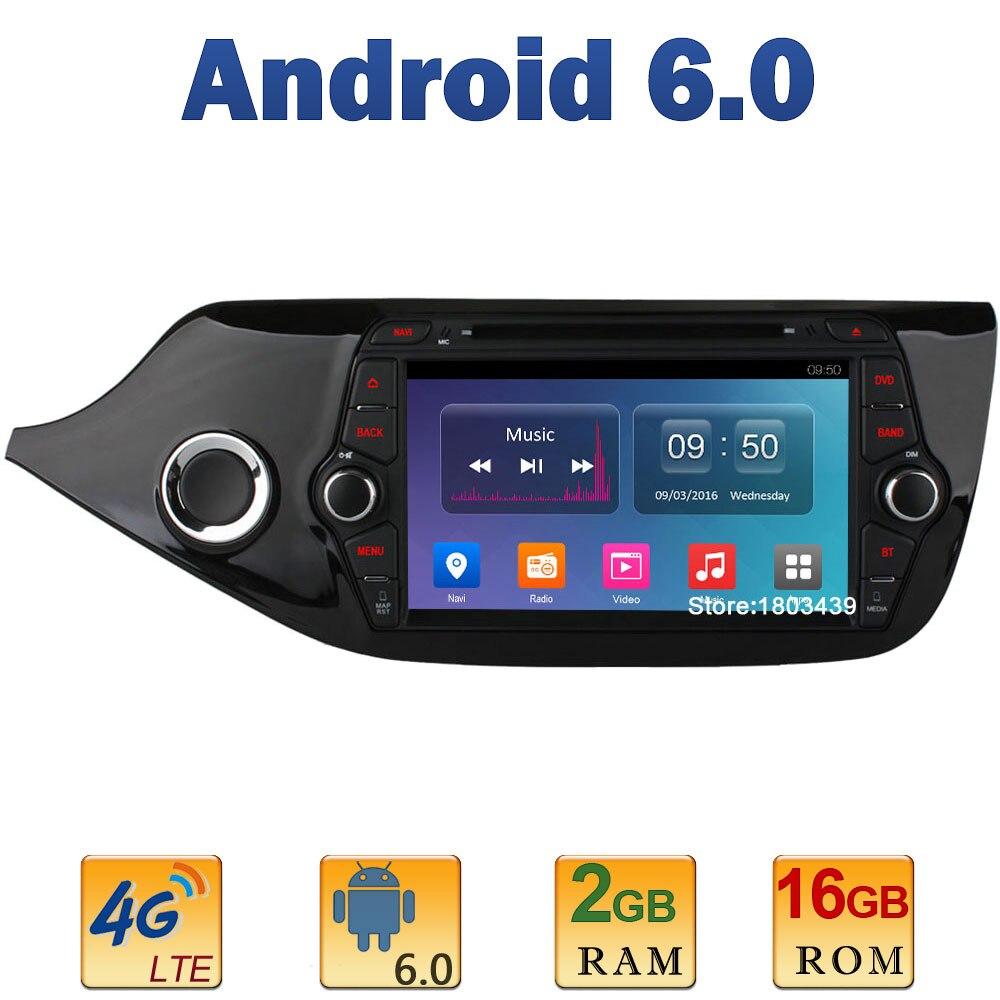 8″ 1024*600 Quad Core 2GB RAM 4G LTE SIM WIFI Android 6.0 Car DVD Player Radio Stereo For Kia CEED 2013 2014 2015 Mirror Link BT