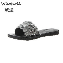Whoholl Women Slippers Flip Flops Summer Women Crystal Diamond Bling Beach Slides Sandals Casual Shoes Slip on Slipper Shoes 7.5 rhinestone women slippers flip flops summer women crystal diamond bling beach slides sandals casual shoes slip on slipper