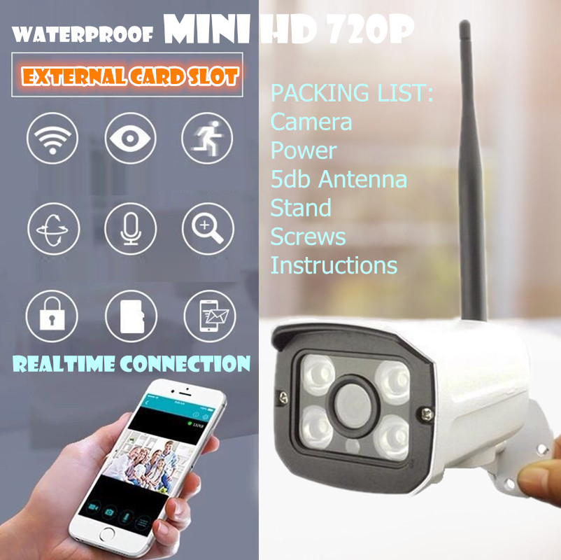 WIFI Megapixel 720p HD Outdoor Wireless Security CCTV IP Cam IR Infrared SD Card Slot P2P Bullet camera waterproof onvif nvr camera wifi megapixel 720p hd outdoor wireless security cctv ip cam ir infrared sd card slot p2p bullet camera waterproof