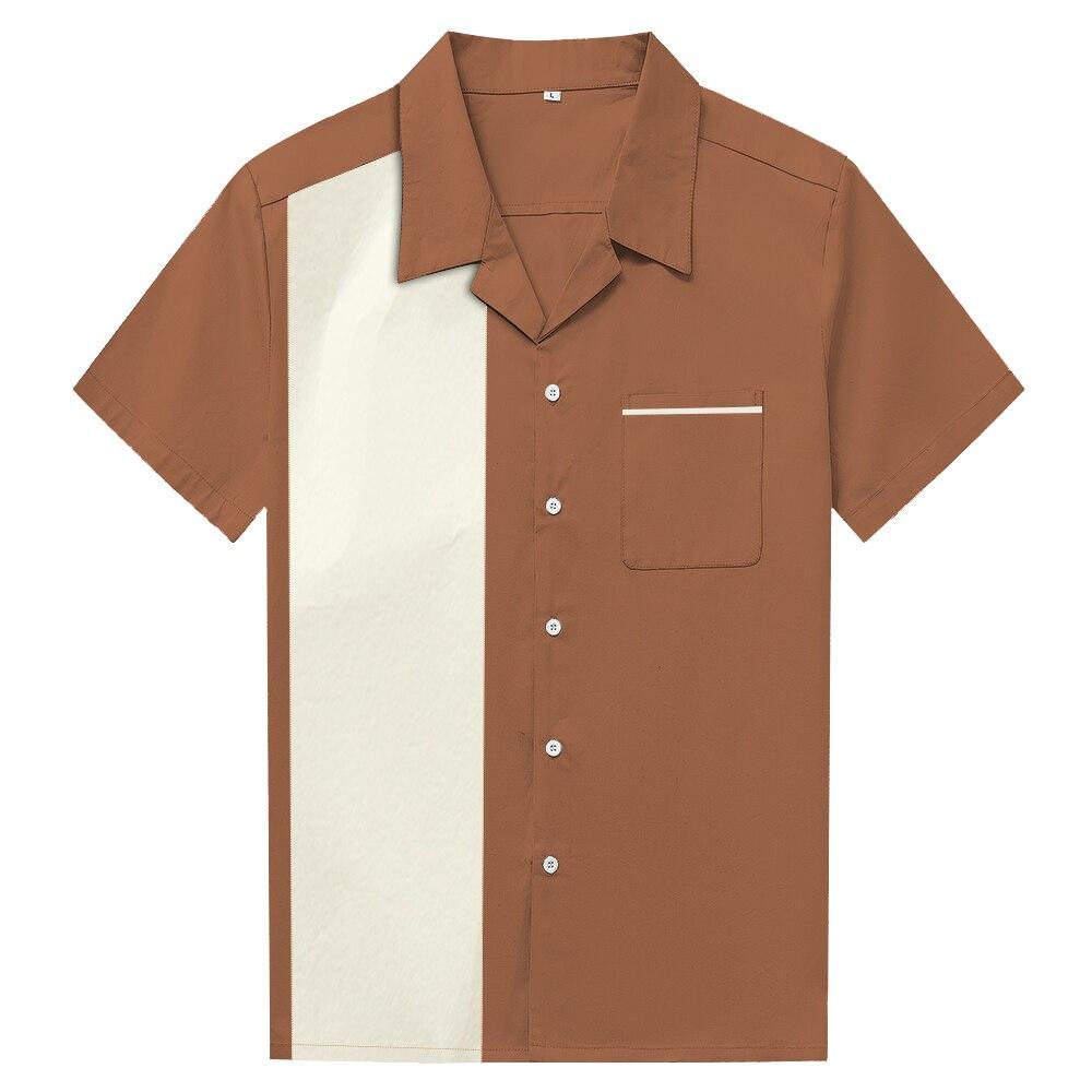 Pannello di Colore di Colpo Cuciture Della Camicia di Stile Americano  Cowboy Casual Camicette Street Punk Rockabilly Vestiti Blusa Camisas  Risvolto Nuova ... 9d803e3e664