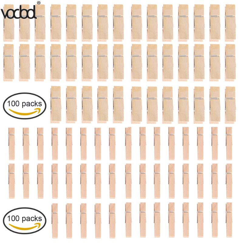 100pcs Raw Wood Clips Natural Wooden Clothespins DIY Photo Paper Peg Pin Craft Clamp for Hanging Crafts Office School Supplies