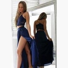 Bbonlinedress 2019 2-Piece Prom Dress New Arrival A Line Slit Skirt Gowns Crop Top Chiffon Evening Formal Party