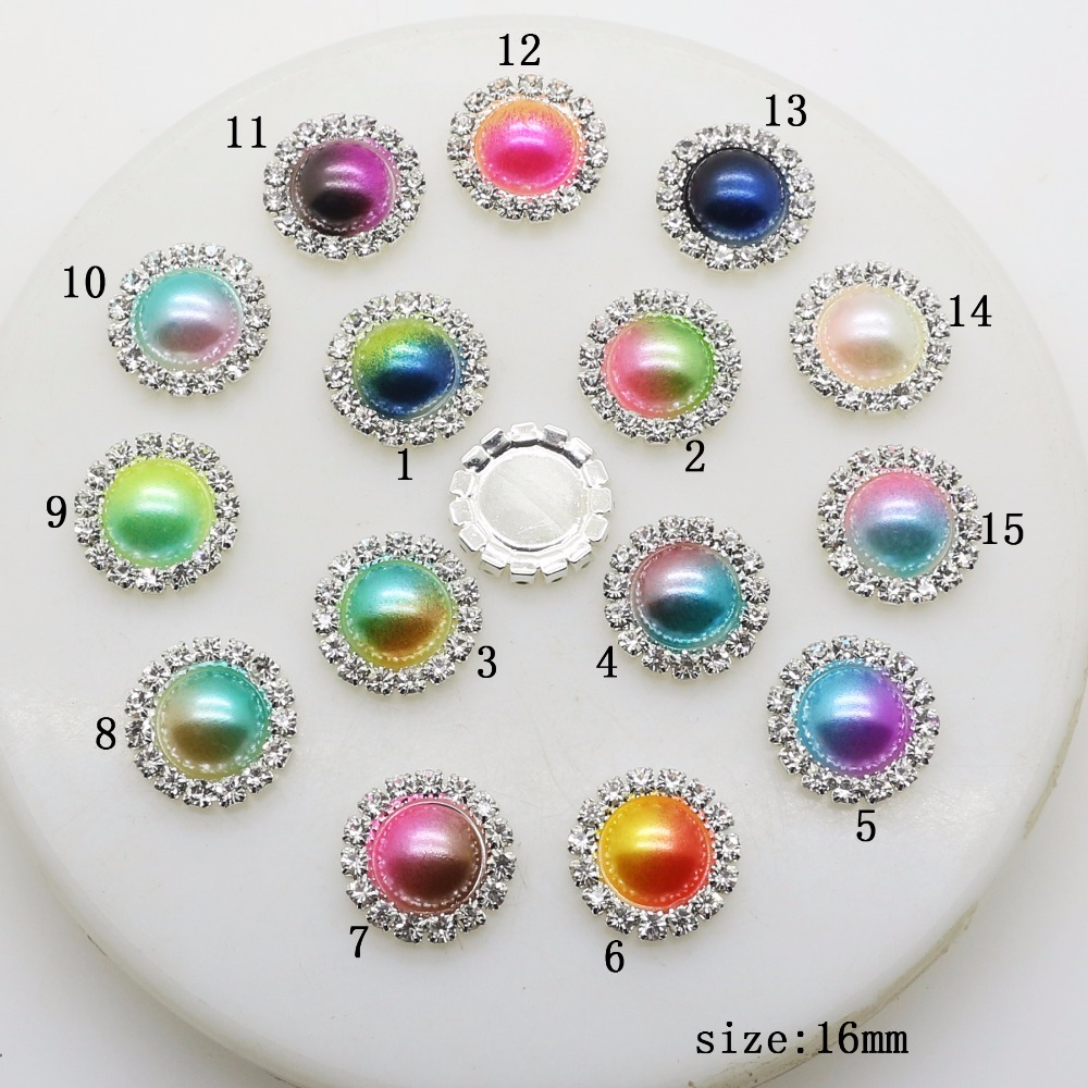 Factory Wholesale 50pcs/pack 16mm New Pearl Rhinestone Buttons DIY Wedding Home Decoration Gift Flat Back Embellishment