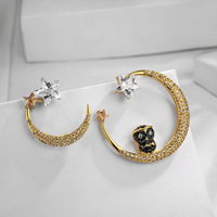 2019 Fashion jewelry Creative new inlaid zircon moon stars earrings female Crystal from Swarovski Fit Women and girls For Party