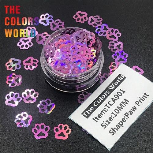 TCT-314 Лапа Печати в форме щенка голографический блестящий для ногтей Дизайн ногтей украшения боди-арт фестиваль стакан ремесло DIY аксессуары - Цвет: TCA901    50g