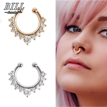 ES165 Crystal Piercing Nose Ring Hoop For Women Clip Body Jewelry Studs European & American Sexy NEW Arrival 2017 Переносные часы