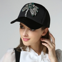 2018 new arrival fashion visor rhinestone baseball cap pure cotton mesh hat female visor cap 958