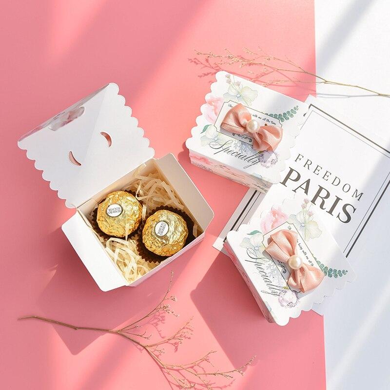 50 pcs/lot carré avec perle bonbons boîte papier cadeau sacs pour fête bébé douche anniversaire mariage bonbons boîte fête fournitures - 2
