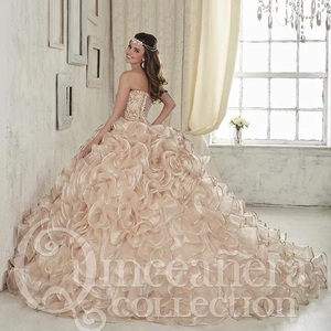 Image 4 - 2020 Luxurious Champagne Embroidery Crystals Ball Gown Quinceanera Dresses Floor Length Vestidos De 15 Anos Sweet 16 Dresses